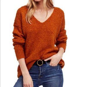 Free People Lofty V-neck Sweater in Burnt Orange